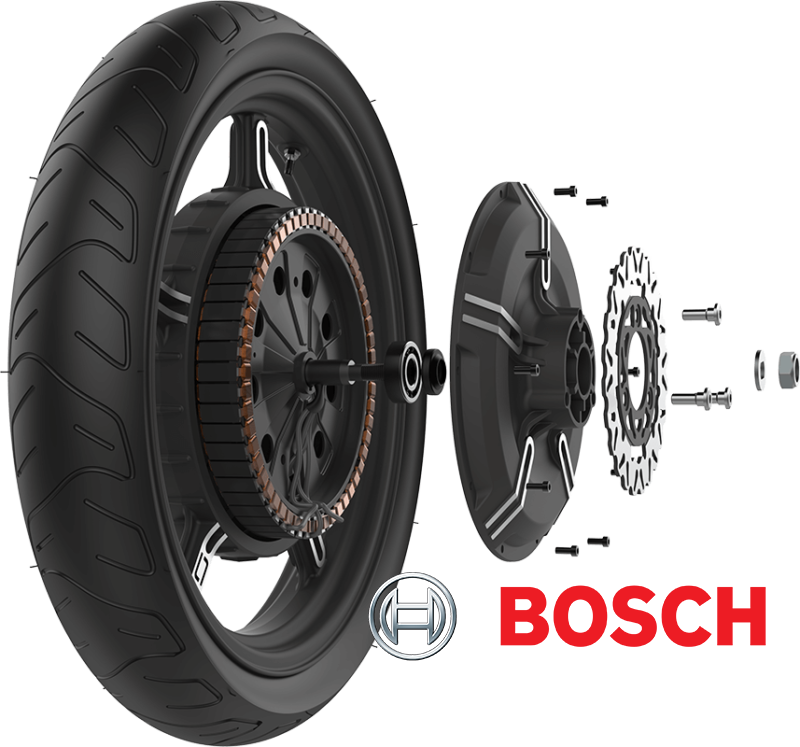 close up and components of the super soco ts electric scooter wheel hub by bosch
